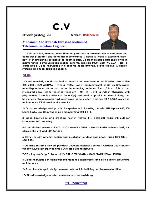 Perfect Telecom Engineer Cv