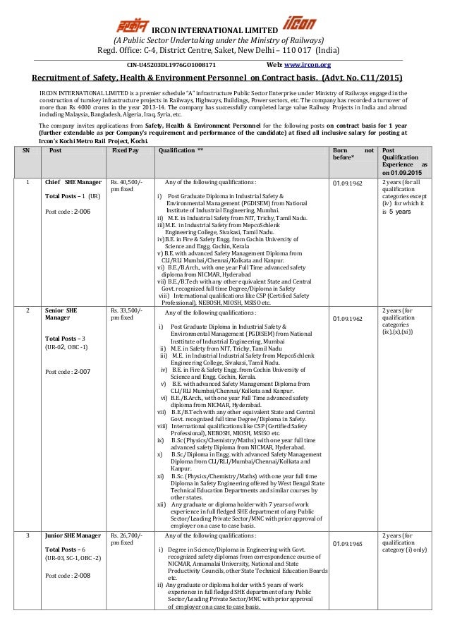 IRCON INTERNATIONAL LIMITED (A Public Sector Undertaking under the Ministry of Railways) Regd. Office: C-4, District Centr...
