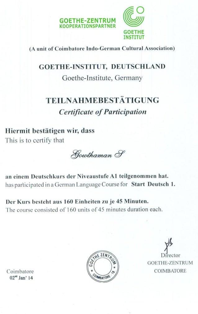 Goethe Institut Level A1 _ Participation_Certificate