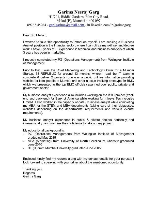Cover Letter   Garima Garg. Garima Neeraj Garg H1/701, Riddhi Gardens, Film  City Road, Malad (