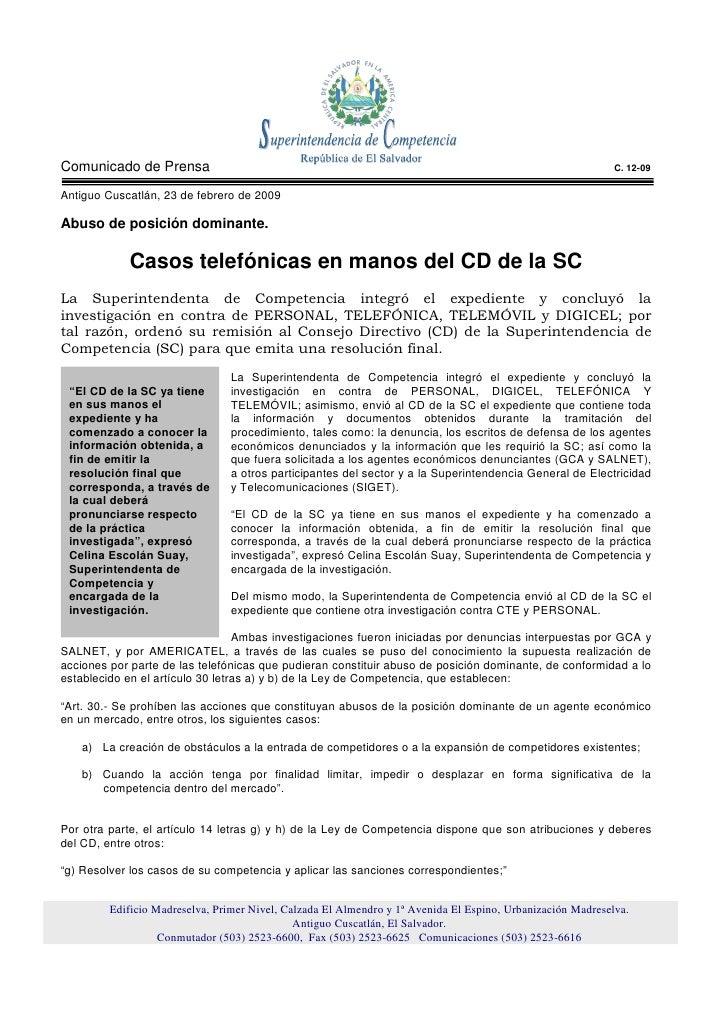 Comunicado de Prensa                                                                                         C. 12-09  Ant...
