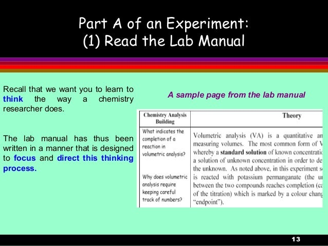 13Part A of an Experiment:(1) Read the Lab ManualA sample page from the lab manualRecall that we want you to learn tothink...
