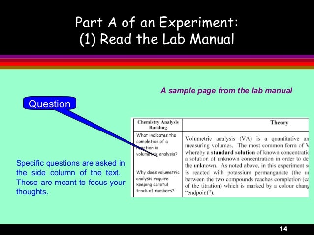 14Part A of an Experiment:(1) Read the Lab ManualSpecific questions are asked inthe side column of the text.These are mean...