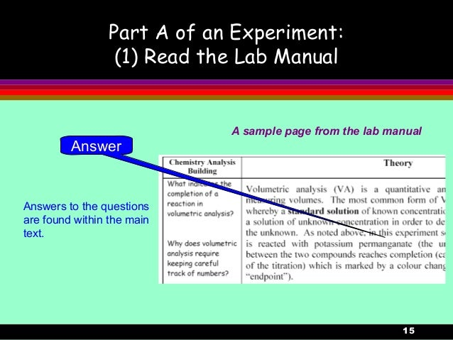 15Part A of an Experiment:(1) Read the Lab ManualAnswers to the questionsare found within the maintext.A sample page from ...