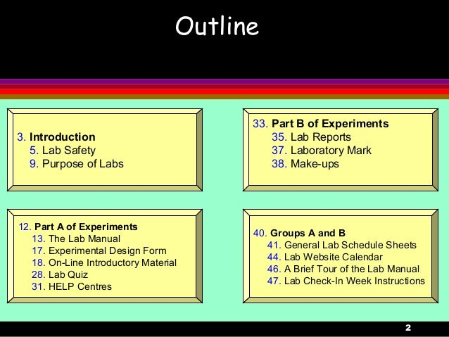 23. Introduction5. Lab Safety9. Purpose of Labs12. Part A of Experiments13. The Lab Manual17. Experimental Design Form18. ...