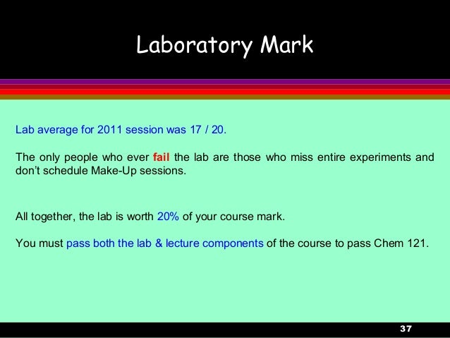 37Laboratory MarkAll together, the lab is worth 20% of your course mark.You must pass both the lab & lecture components of...