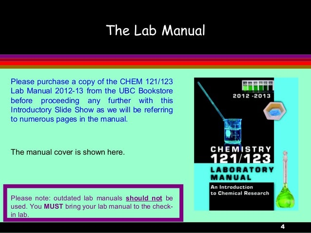 4The Lab ManualPlease purchase a copy of the CHEM 121/123Lab Manual 2012-13 from the UBC Bookstorebefore proceeding any fu...