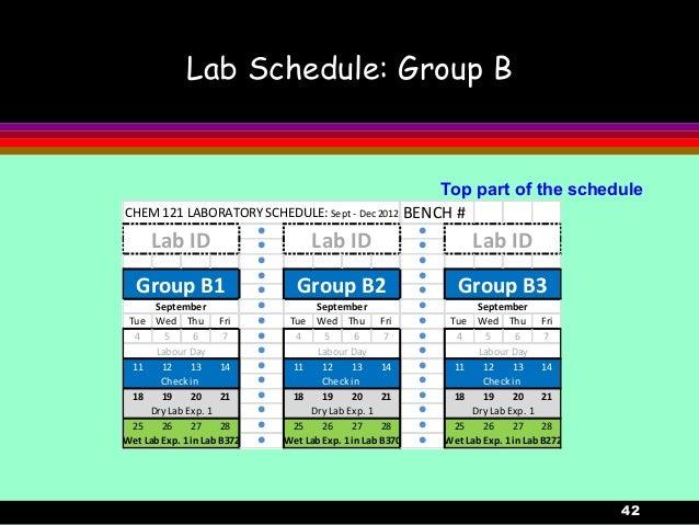 42Lab Schedule: Group BTop part of the scheduleCHEM 121 LABORATORY SCHEDULE: Sept - Dec 2012 BENCH #l ll ll ll ll ll lTue ...