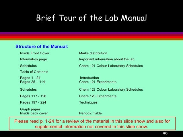 46Brief Tour of the Lab ManualStructure of the Manual:Inside Front Cover Marks distributionInformation page Important info...