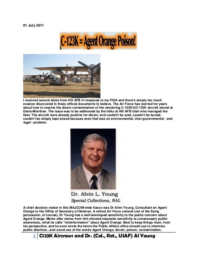 1 C123K Aircrews and Dr. (Col., Ret., USAF) Al Young 01 July 2011 I received several disks from Hill AFB in response to my...