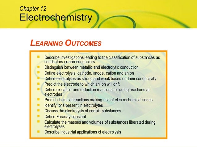 LEARNING OUTCOMES Electrochemistry Chapter 12  Describe investigations leading to the classification of substances as con...