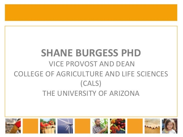 SHANE  BURGESS  PHD  VICE  PROVOST  AND  DEAN  COLLEGE  OF  AGRICULTURE  AND  LIFE  SCIENCES  (CALS)  THE  UNIVERSITY  OF ...