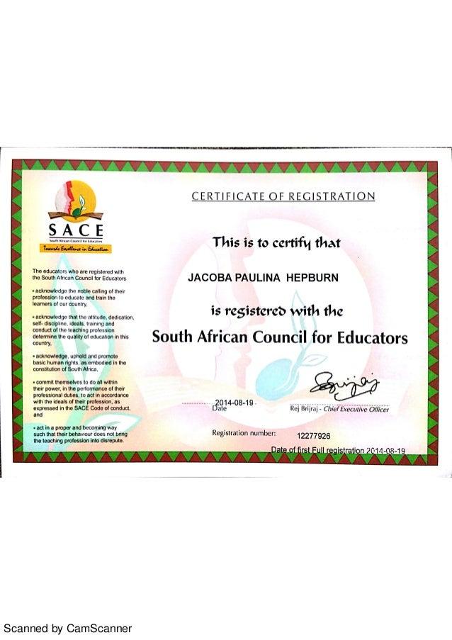 Sace Certificate