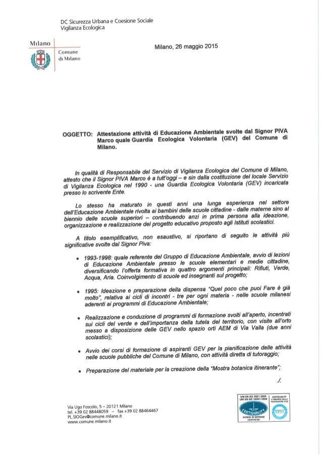 REF Marco Piva - Progetti Educazione Ambientale - Environmental Education in Milan's schools