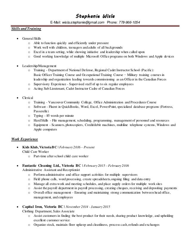 general skills for resumes