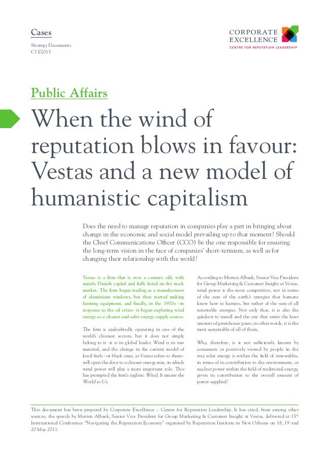 Cases Strategy Documents C13/2013  Public Affairs  When the wind of reputation blows in favour: Vestas and a new model of ...