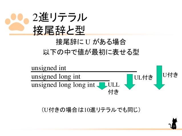 2進リテラル 接尾辞と型 接尾辞に U がある場合 以下の中で値が最初に表せる型 unsigned int unsigned long int unsigned long long int (U付きの場合は10進リテラルでも同じ) 25 ULL...