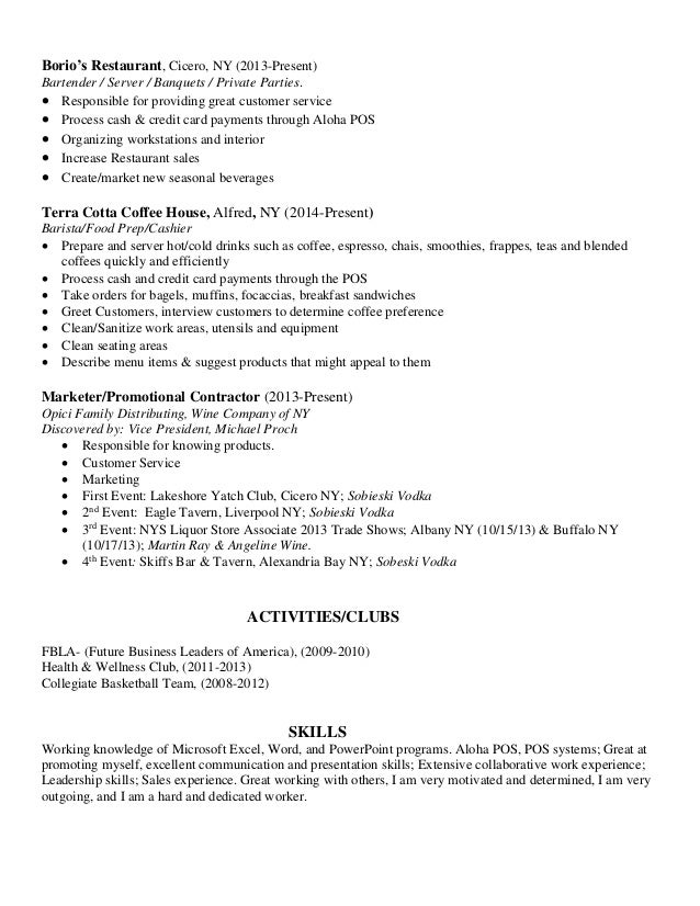 Resumes For Bartenders And Servers alyssa georgiade resume – Sample Resume for Bartender Server
