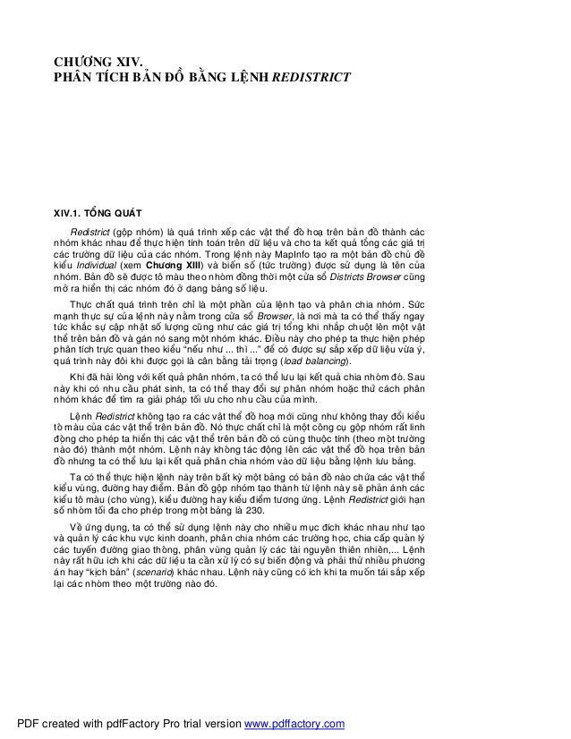 CHÖÔNG XIV.PHAÂN TÍCH BAÛN ÑOÀ BAÈNG LEÄNH REDISTRICTXIV.1. TOÅNG QUAÙTRedistrict (goäp nhoùm) laø quaù trình xeáp caùc va...