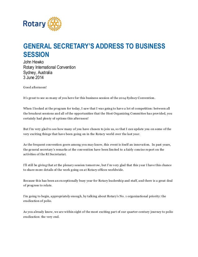 GENERAL SECRETARY'S ADDRESS TO BUSINESS SESSION John Hewko Rotary International Convention Sydney, Australia 3 June 2014 G...