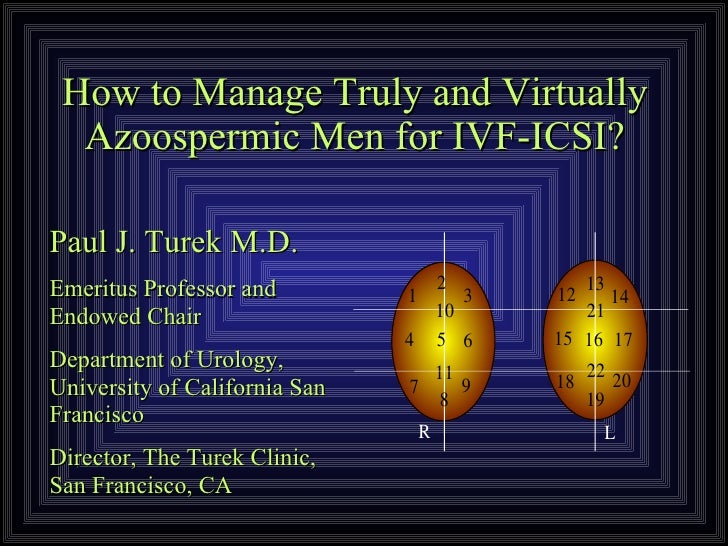 How to Manage Truly and Virtually Azoospermic Men for IVF-ICSI? Paul J. Turek M.D. Emeritus Professor and Endowed Chair  D...