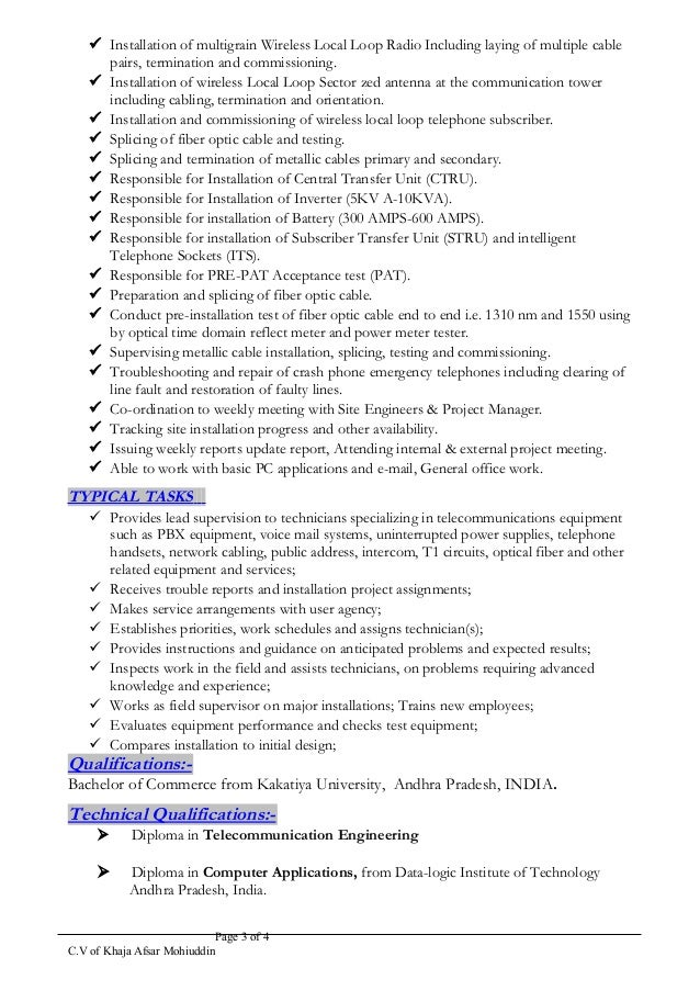 Afsar Cw Ftth Osp Senior Engineer Resume