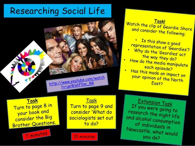 Researching Social Life Task Turn to page 9 and consider 'What do sociologists set out to do? 10 minutes