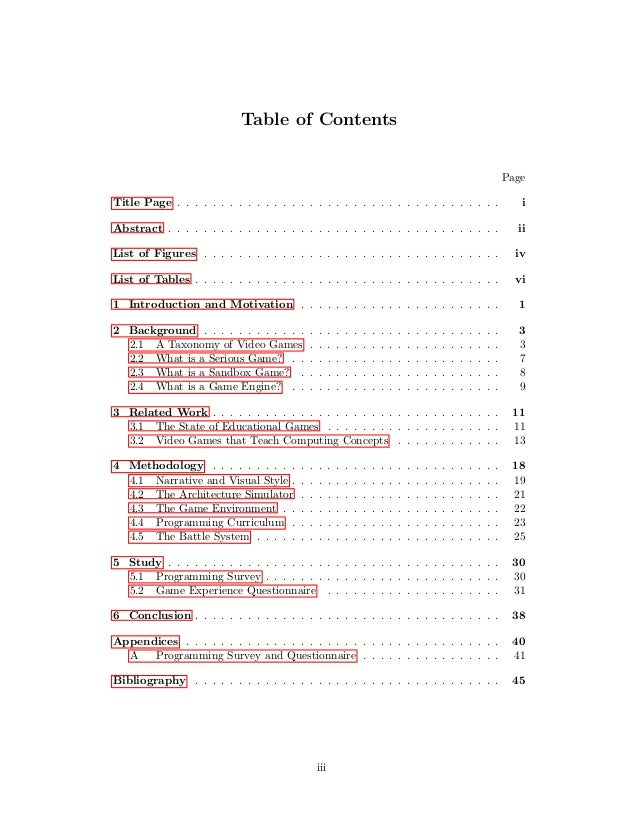 contents page design dissertation