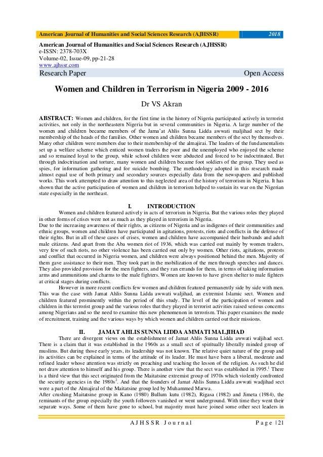 Women and Children in Terrorism in Nigeria 2009 - 2016