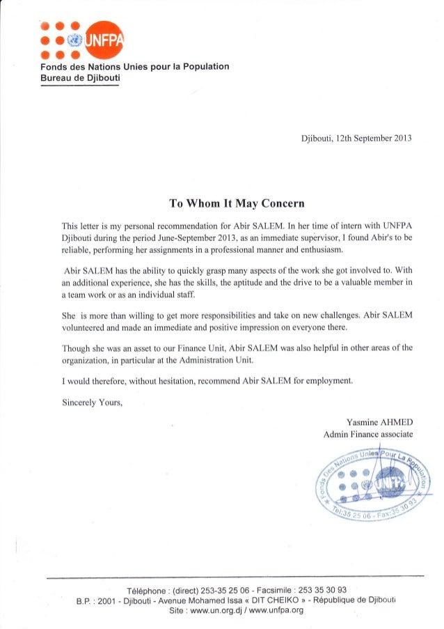 lettre de recommandation en français lettre de recommandation anglais FNUAP lettre de recommandation en français
