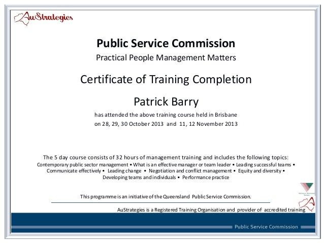 Public Service Commission Practical People Management Matters Certificate  Of Training Completion Patrick Barry Has Attende.
