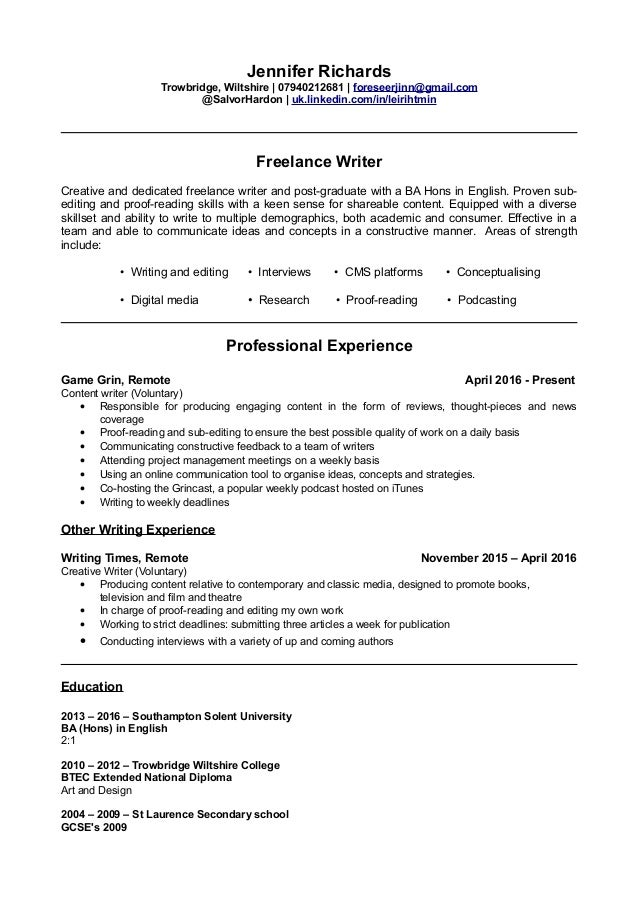jennifer-writers-cv-1-638 Sample Curriculum Vitae For Writers on offer letter, for chiropractors, fresh graduate, latest format, medical student, for accountant partner, cover letter, for administrative assistant,