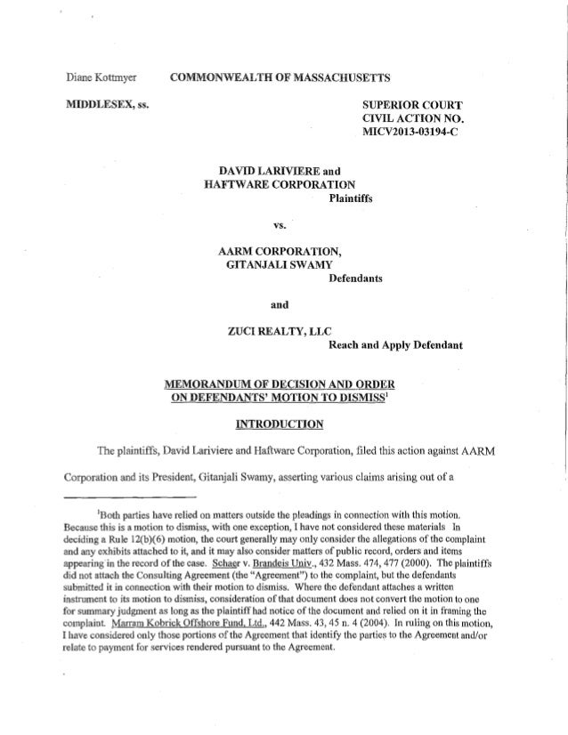 11-27-13 ORDER GRANTING MOTION TO DISMISS SWAMY