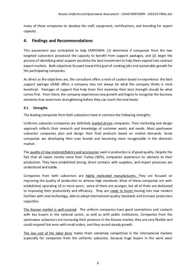 Kosovo Uniforms and Sportswear Assessment - USAID EMPOWER
