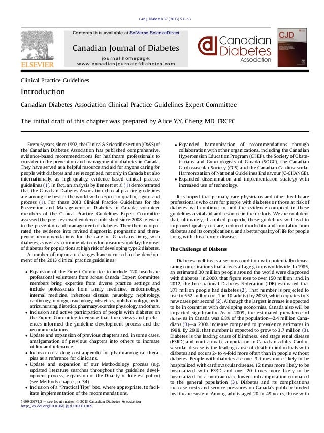 Canadian Journal Of Diabetes Guidelines