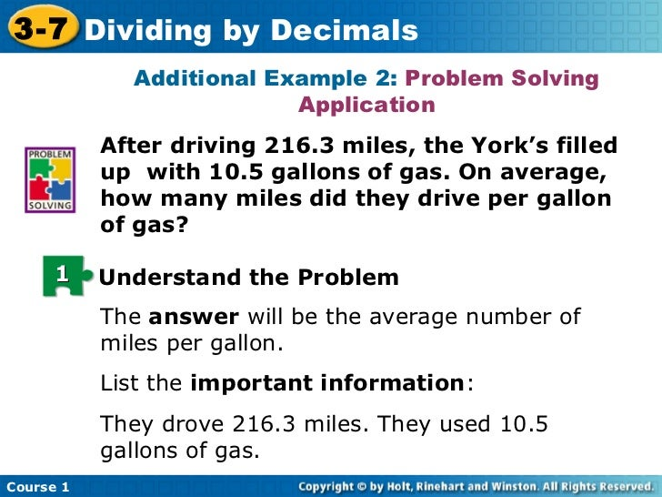 how to solve division problems with decimals