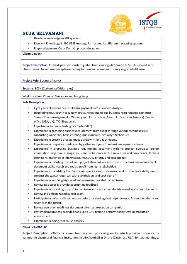 Suja resume business analyst defect management review test exit report 2 reheart Image collections
