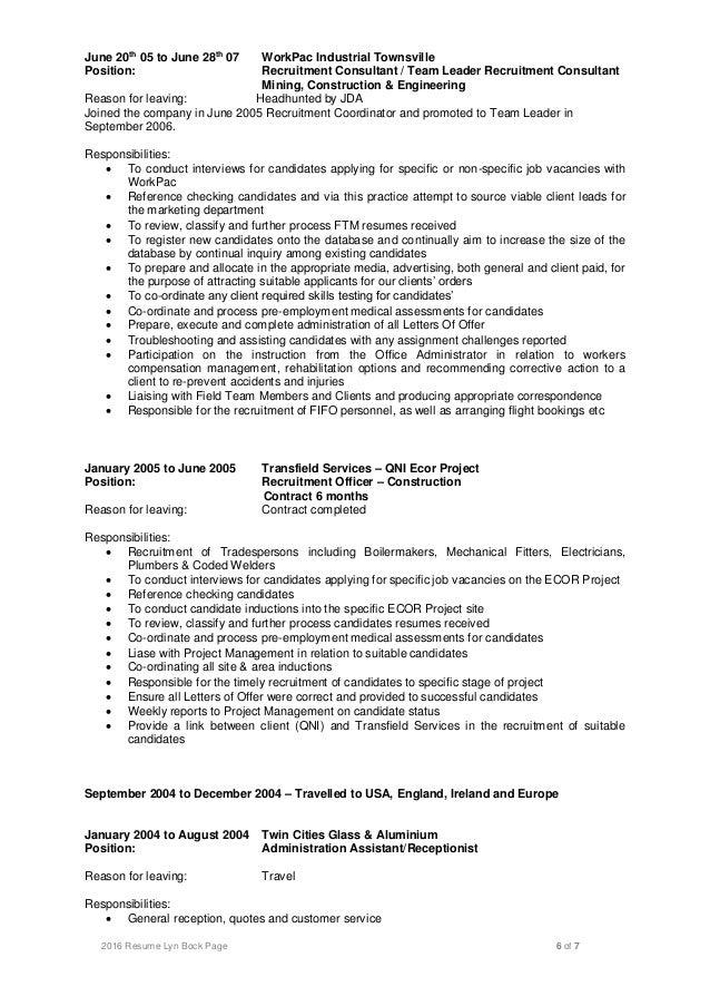 lyn bock resume