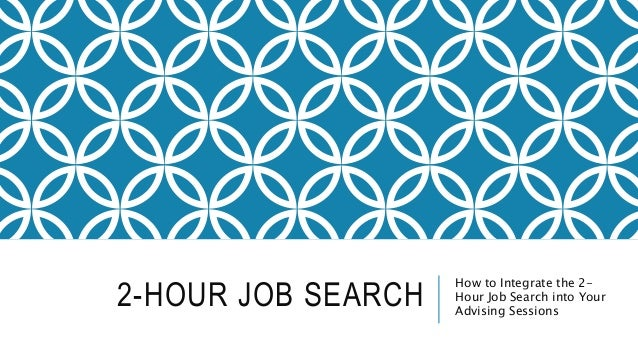 2-HOUR JOB SEARCH How to Integrate the 2- Hour Job Search into Your Advising Sessions