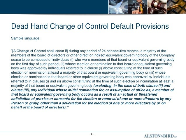 Dead Hand Change of Control Default Provisions PPT 3-25-15