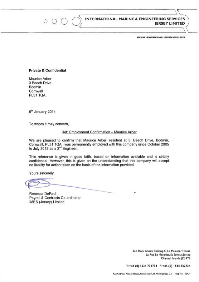 Employee Confirmation Letter Maurice Arber 6Jan14 2