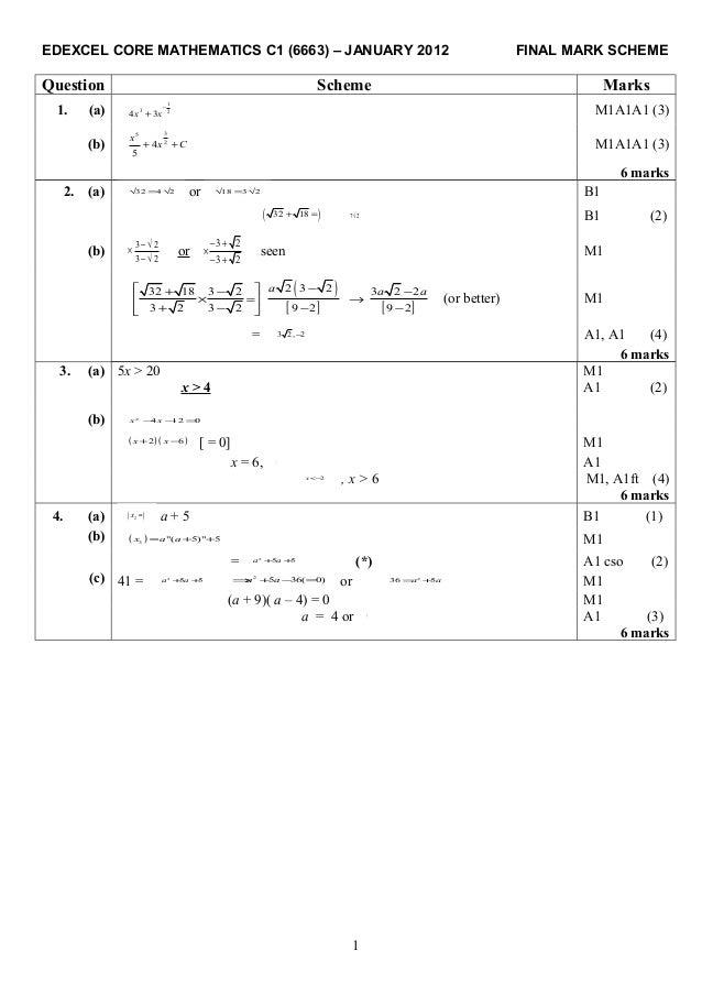 C1 mark scheme