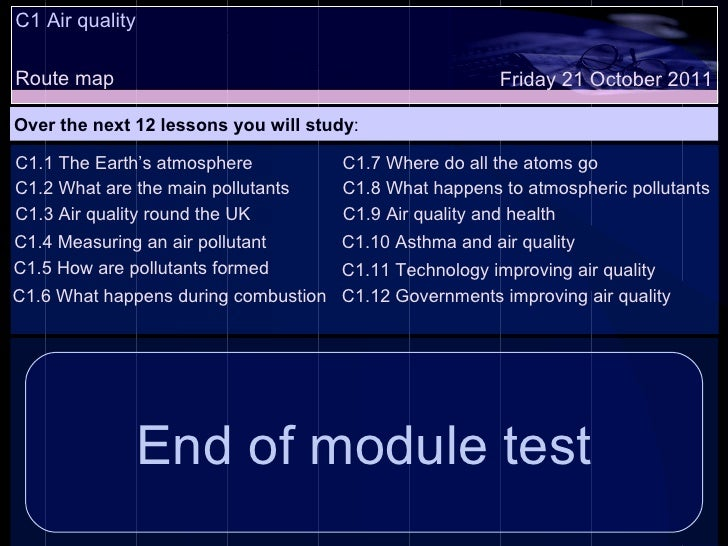 C1 Air quality Route map Over the next 12 lessons you will study : Friday 21 October 2011 C1.1 The Earth's atmosphere C1.2...