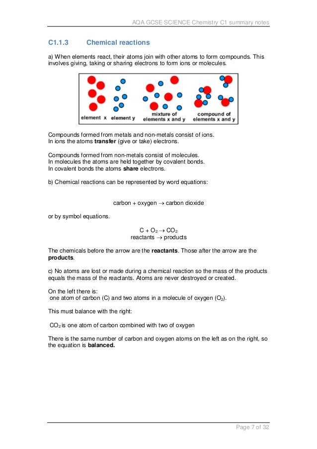 Aqa Gcse Science C1 Notes