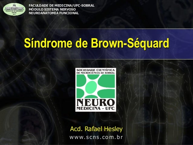 Síndrome de Brown-Séquard  FACULDADE DE MEDICINA/UFC-SOBRAL  MÓDULO SISTEMA NERVOSO  NEUROANATOMIA FUNCIONAL Acd. Rafael H...
