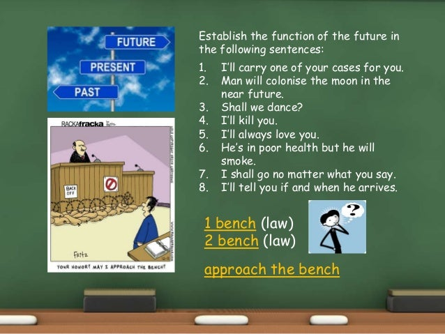 Establish the function of the future in the following sentences: 1. I'll carry one of your cases for you. 2. Man will colo...