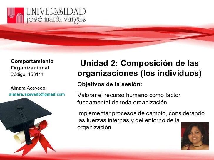 2 Unidad 2: Composición de las organizaciones (los individuos) Objetivos de la sesión:   Valorar el recurso humano como fa...