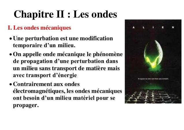 Chapitre II : Les ondesI. Les ondes mécaniques Une perturbation est une modification  temporaire d'un milieu. On appelle...
