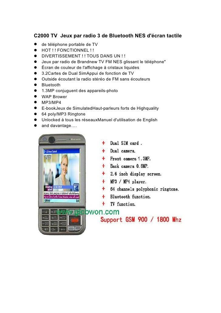 C2000 TV Jeux par radio 3 de Bluetooth NES d'écran tactile de téléphone portable de TV HOT ! ! FONCTIONNEL ! ! DIVER...