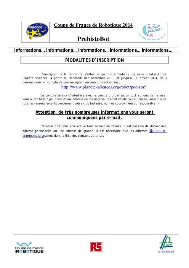 Inscription coupe de robotique 2014 for Inscription d et co
